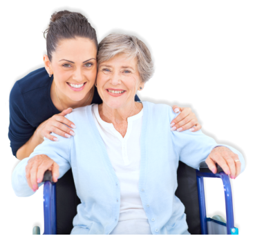 caregiver and elderly woman in a wheechair smiling